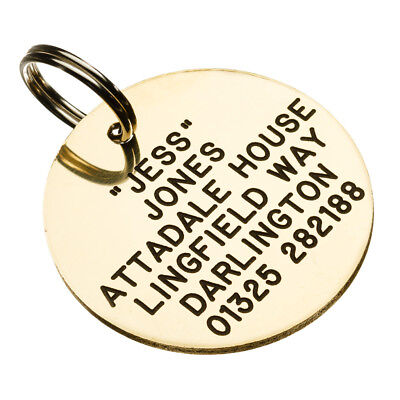 Deeply Engraved  Pet Tag Solid Brass ID Dog Tag 26mm(small)