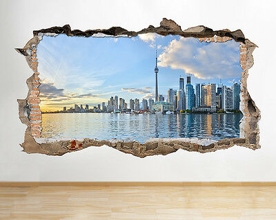 S462 Toronto City Skyline Sunset Smashed Wall Decal 3D Art Stickers Vinyl Room