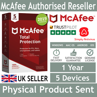 McAfee Total Protection 2019 5 Multi Devices 1 Year - Physical Delivery by Post