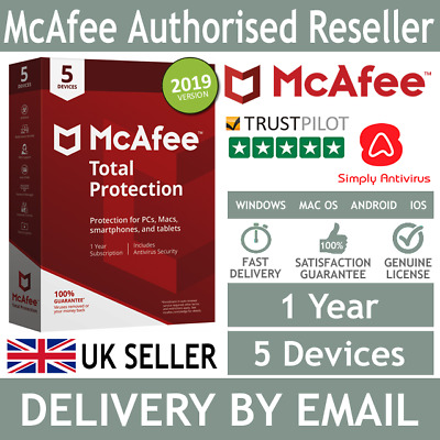 McAfee Total Protection 2019 5 Multi Devices 1 Year  *5 Minute Delivery by Email