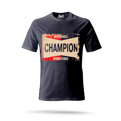 Mens T Shirt Vintage Champion Spark Plugs Mechanic Engineer 3 Colours S-3Xl