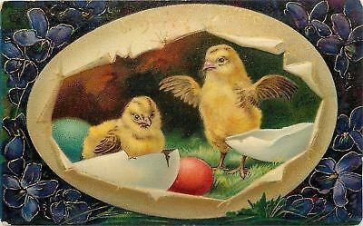Bright Bold Easter Egg Panorama~Chicks Flap~Colored Eggs~Violets~Emb~Ser 1520a