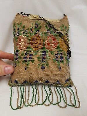 Antique Beaded Sewing Pin Cushion Pillow with Chain