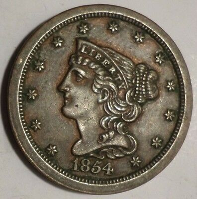 AU+/Better 1854 Braided Hair Half Cent Almost Uncirculated+/UNC, Only 55K Minted