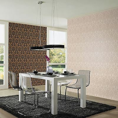 Textured Vinyl Damask Wallpaper Rolls Brown / Black / Silver - P+S 02485-40 New