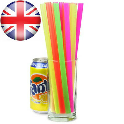 Mega Jumbo Neon Straws 9inch - Pack of 200 Assorted Colour Smoothie and...