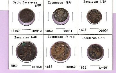 Zacatecas brass coins, 1/8, 1/4 real.  1852, 1863, 1825, 1833, 1846? and 1859