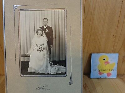 Vintage Cabinet Photograph WEDDING PORTRAIT Man Woman Easel Framed B&W 5x7""