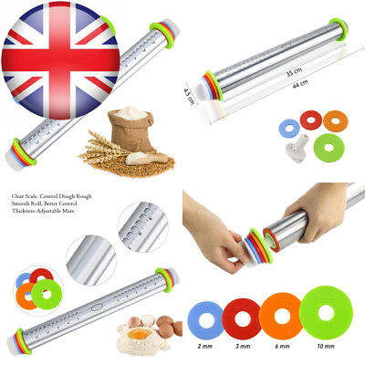 Fixget Stainless Steel Rolling Pin, Adjustable Pin Pins with Removable...