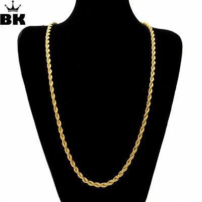 UK Mens Gold  Hip Hop Bling Curb Rope Twist Rhodium Chain Necklace 30inch 4mm