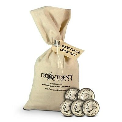 "$100 Face Value Bag of Pre-1965 90% ""Junk"" Silver Coins - U.S. Dimes"