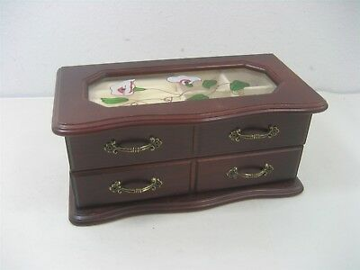VINTAGE CHERRY Wood Frosted Floral Etched Glass Jewelry Box Flower