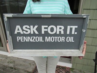 ORIGINAL 1970's PENNZOIL MOTOR OIL DOUBLE SIDED DEALER DISPLAY SIGN & STAND