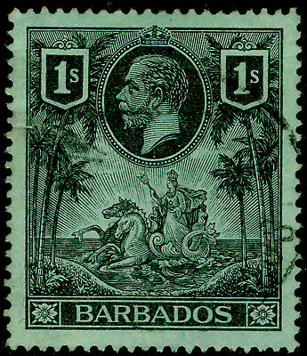 BARBADOS SG178, 1s black/green, used, CDS. Cat £25.