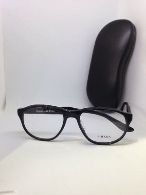 0001064ad7f2 New Authentic PRADA Journal Eyeglasses VPR 12S 1AB Black Designer Frames  54mm