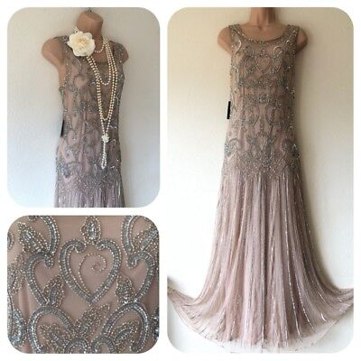 NWT Embellished Gatsby 20's Sequin Beaded Flapper Dress Evening 10 Charleston
