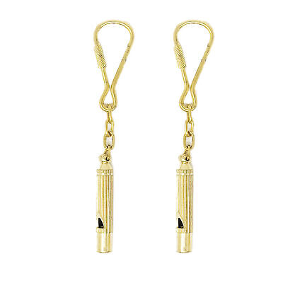 Five Oceans Solid Brass Whistle Keychain, Pair - BC 2219-M2-1