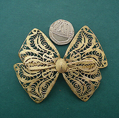 VINTAGE FILIGREE COLLECTORS BROOCH VERY LARGE IMPRESSIVE BOW MARKED No.'38'