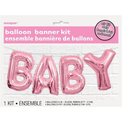 Pink Baby Letter Foil Balloon Banner Kit - Baby Shower Party Decoration Garland