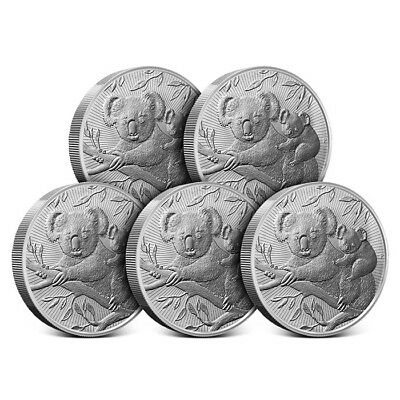 2018 Australia 2 oz Silver | The Next Generation - Koala Lot of 5 Coins