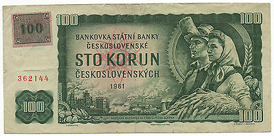 Czechoslovakia 100 Korun 1961 Pick 91 With Stamp Look Scans