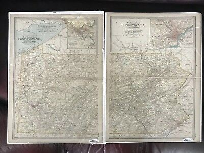 Map of Western & Eastern PA by The Century Company. Genuine Antique Map 1897