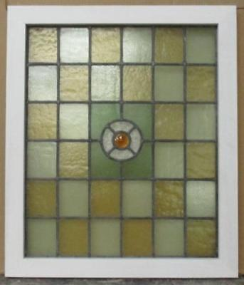 "MID SIZED OLD ENGLISH LEADED STAINED GLASS WINDOW Squaresw/Bullseye 22"" x 25.75"""