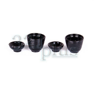 1:12 Scale Miniature Dishes Dollhouse Cups Bowls Black Cup Rice Bowl Tableware
