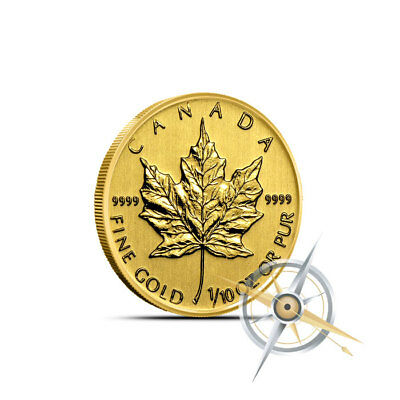 1/10 oz Gold Canada Maple Leaf Coin .9999 - Gem BU in Mint Plastic - Random Date