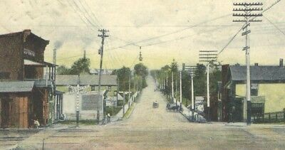 Postcard Old Railroad Crossing South Wadsworth Ohio Looking North Horse & Wagons