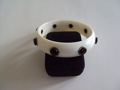Signed Vintage W Germany White/Black Lucite Bangle Bracelet Retro Chunky Thick