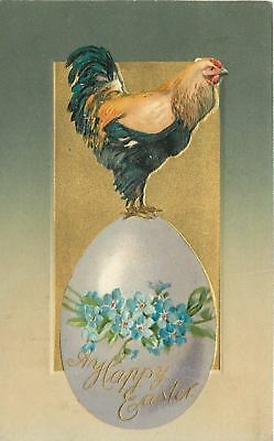 Easter~Rooster on Top of Lavender Egg~Forget-Me-Nots Decoration~Emboss~Winsch
