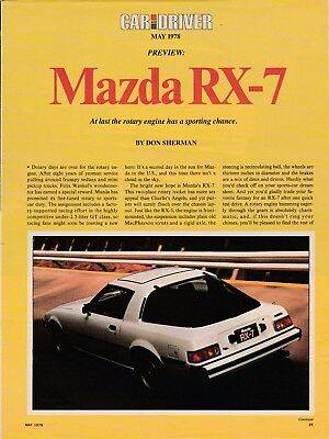 1978 Mazda RX-7 Sports, Lengthy USA Car Magazine 'Preview' New Car Test Report