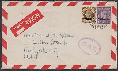 Morocco - Tangier 1948 airmail cover USA, O.A.T. handstamp (Heifetz type XVI)