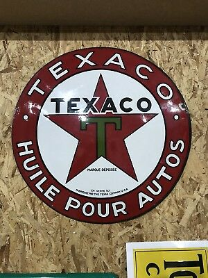 """23"""" Single Sided Porcelain Texaco Motor Oil French Button Sign"""