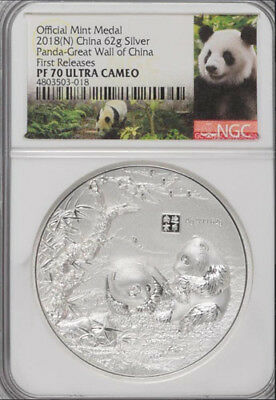 NGC PF70 2018 China Great Wall Panda 62g Silver High Relief Medal Mintage:99
