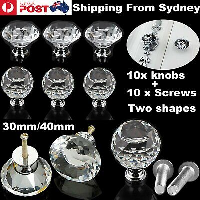 10x 30/40mm Clear Crystal Glass Door Knobs knob Drawer Handles Cabinet +Screw