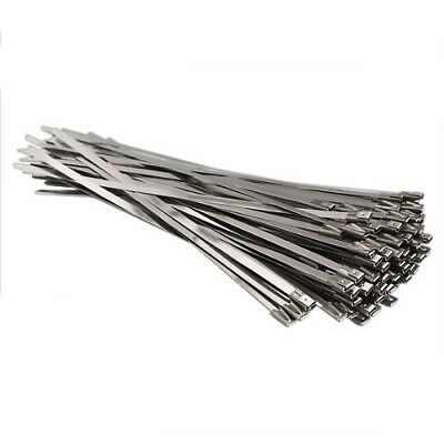 100pcs Stainless Steel Locking Cable Zip Ties Silver (4.6x300mm) S8N4