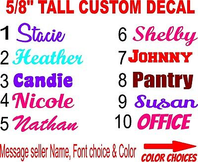 """5/8"""" Tall Customized Personalized Decal Lettering Decal Home Auto Business Name"""