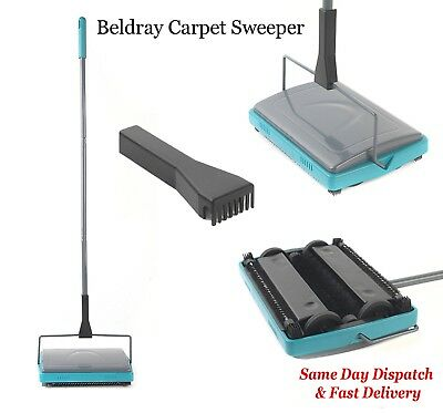 Beldray Carpet Sweeper Rug Carpet Cleaner Manual 3 Brush Cordless Lightweight