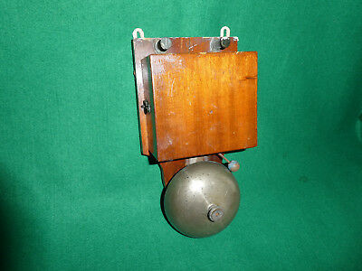 Antique Electric Door Bell Wood Brass Bronze 6 Volt Servant Butler School Large