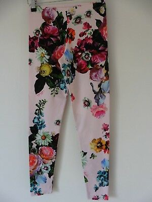 Ted Baker Girls Pink Floral Leggings Age 11 - 12 Years Ref-Cc