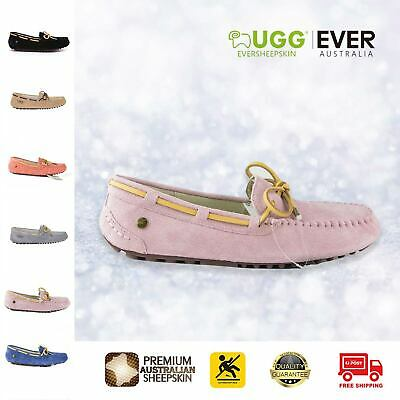 UGG Boots Ladies Lace Summer Moccasin Rubber Sole Flat Shoes Indoor/Outdoor