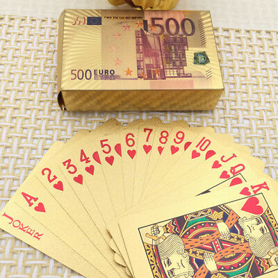 54 Plastic 24K Gold Foil Plated Playing Cards Poker Game Euro Cards For Party