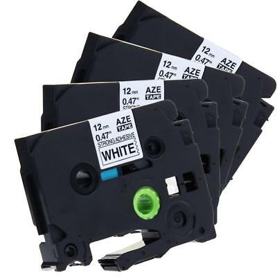 TZe-S231 P-touch Label Tape Compatible for Brother 12mm Strong Adhesive 4PK