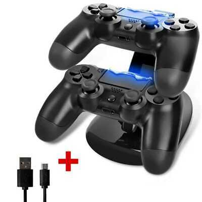 Estacion de Carga USB con Luz LED para Mandos Consolas PS Playstation 4 Negro