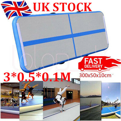 3*0.5*0.1M Inflatable Air Track Tumbling Floor Gymnastics Training Pad Mats Blue