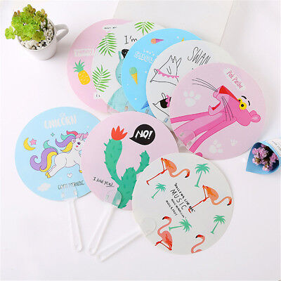 Portable Flamingo Cartoon Summer Fans Round PP Hand Fan Birthday Party FavorGift