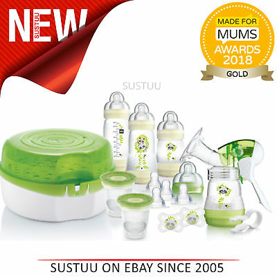MAM Breast Feeding and Steriliser Starter Set│Breast-Pump│Anti -Colic Bottle etc