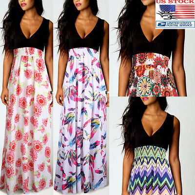 Womens V-neck Summer Boho Maxi Dress Sleeveless Long Beach Sundress Plus Size US